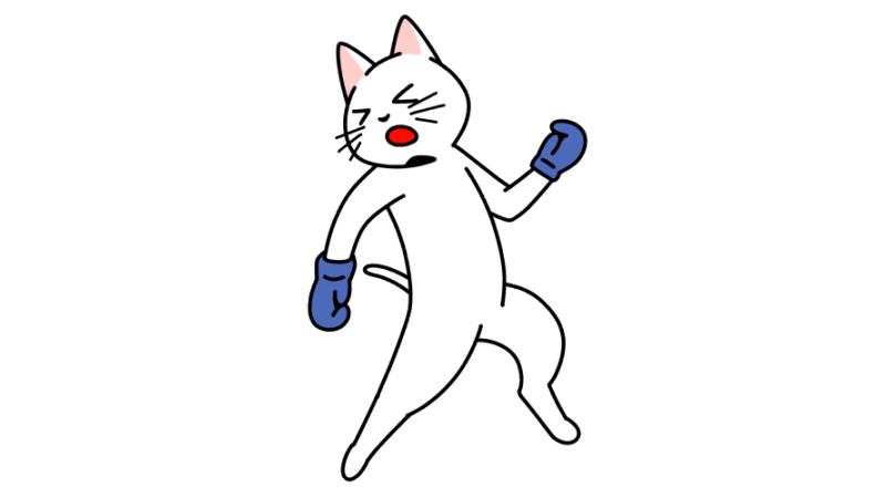 ボクシングでパンチを受ける猫のイラスト