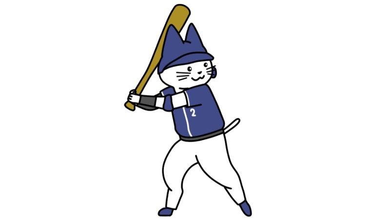 野球でバッターをする猫のイラスト(ユニフォームあり)