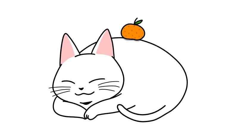 鏡餅みたいな猫のイラスト