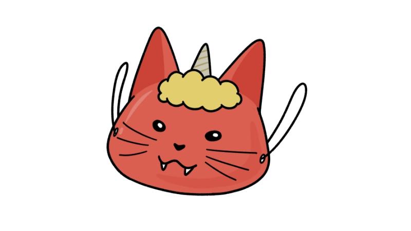 節分の猫鬼のお面のイラスト