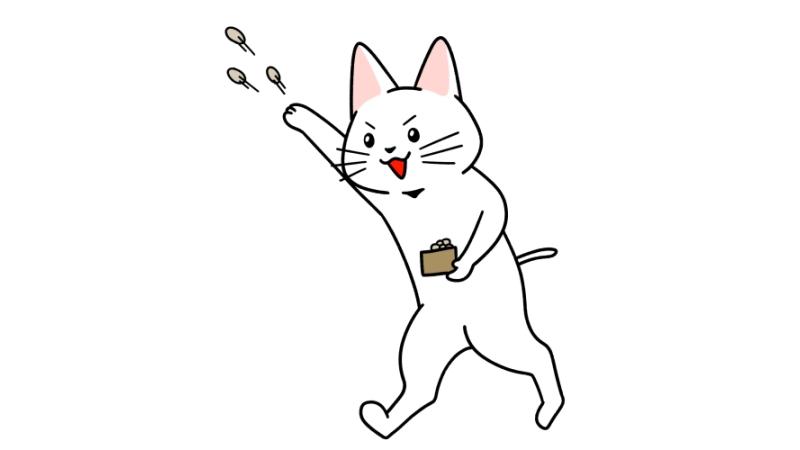 節分で豆まきをする猫のイラスト