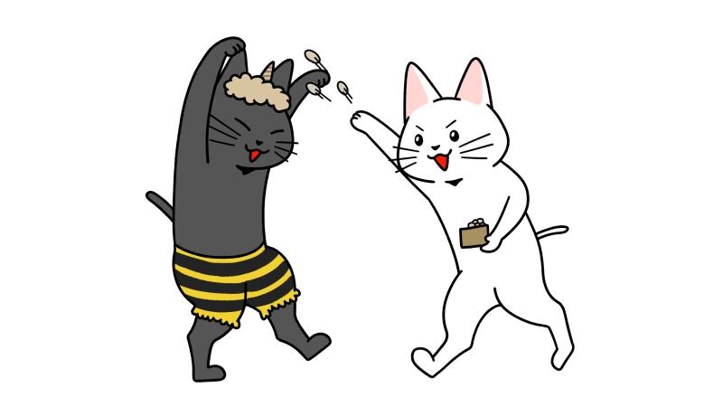 節分の豆まきをする猫たちのイラスト