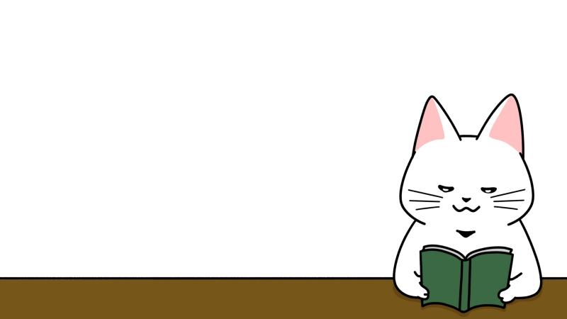 机で本を読む猫のイラスト(見出しサイズ/左配置)