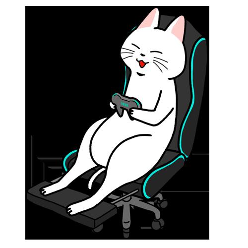 ゲーミングチェアに座ってゲームを楽しむイラスト