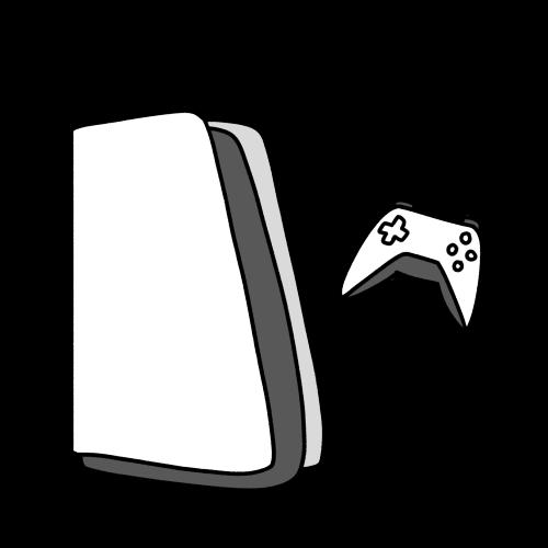 白黒のゲーム機のイラスト
