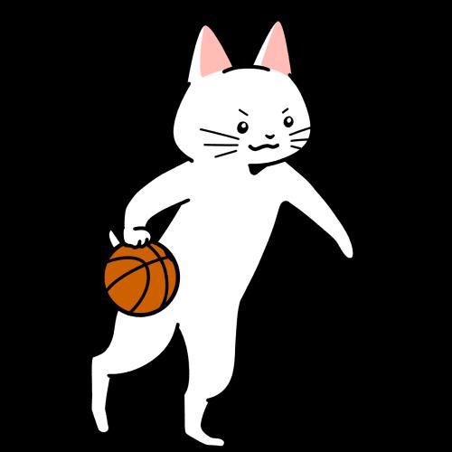 バスケットボールでドリブルする猫のイラスト