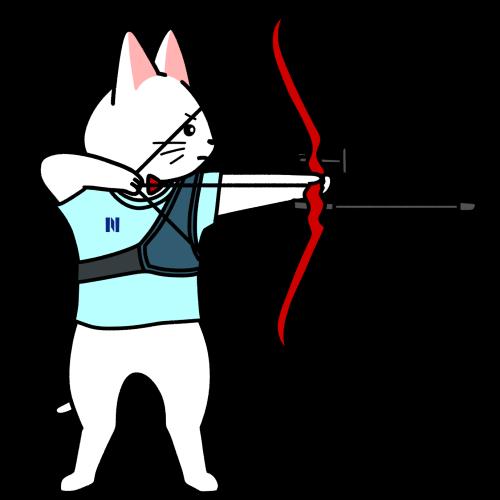 アーチェリーの弓を引く猫のイラスト(ユニフォームあり)