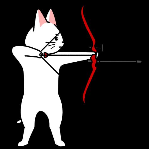 アーチェリーの弓を引く猫のイラスト