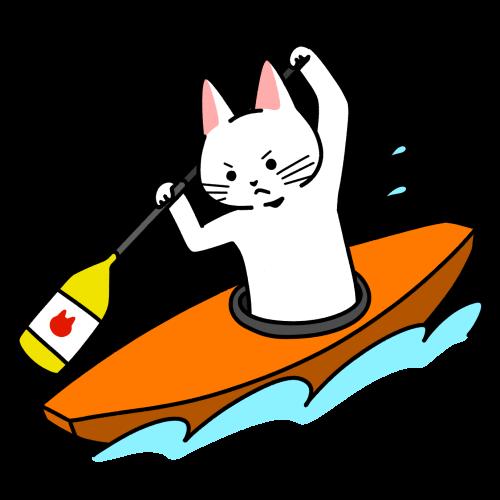 カヌー(スラロームカナディアンシングル)をする猫のイラスト