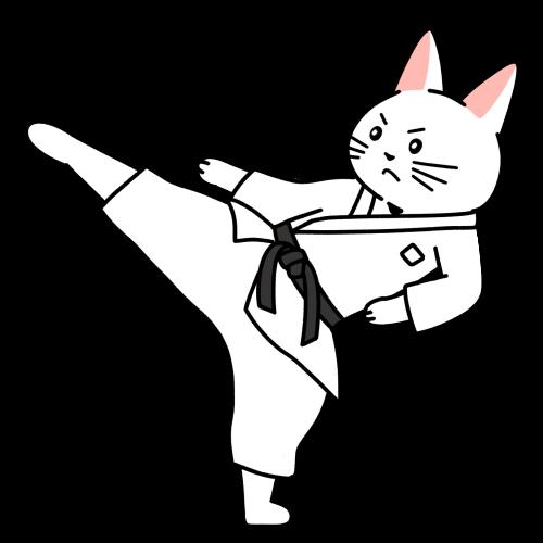 空手で上段蹴りをする猫のイラスト(ユニフォームあり)