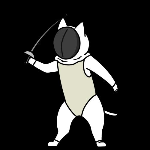 フェンシングする猫のイラスト