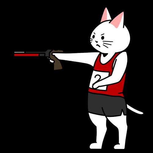 射撃(レーザーラン)をする猫のイラスト(ユニフォームあり)