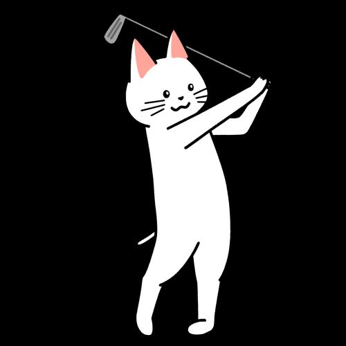 ゴルフでスイングする猫のイラスト