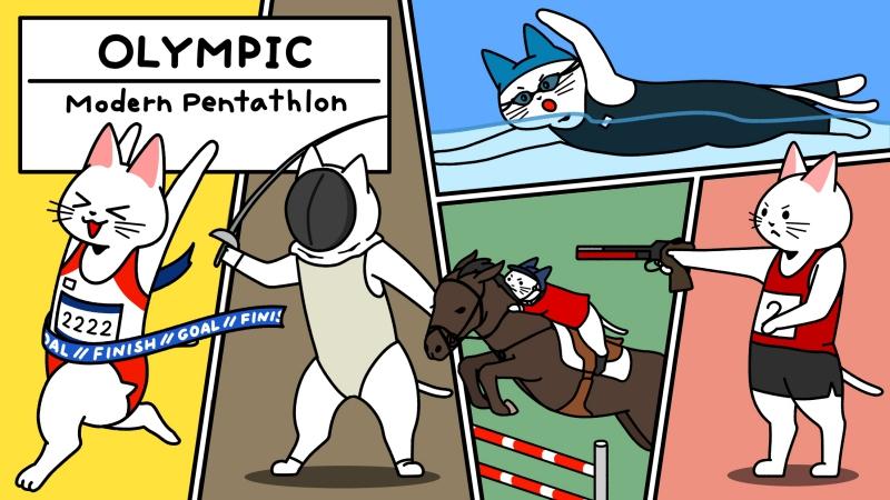 オリンピック近代五種をする猫のイラスト