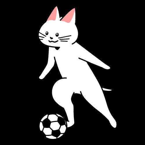 サッカーでドリブルをする猫のイラスト