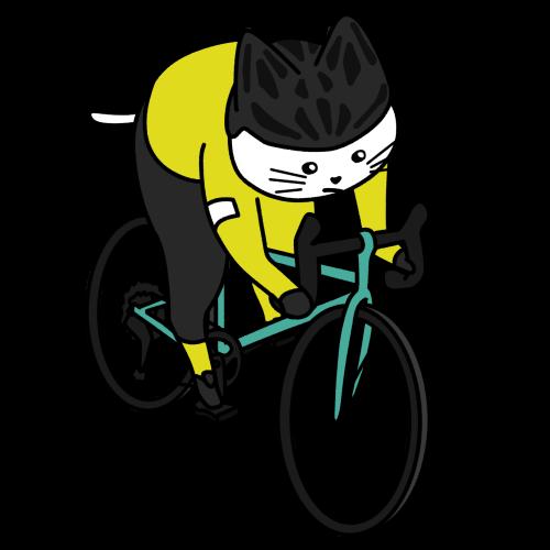 ロードバイク(自転車)で走る猫のイラスト(ユニフォームあり)