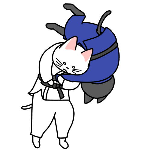 柔道で背負い投げする猫のイラスト(ユニフォームあり)