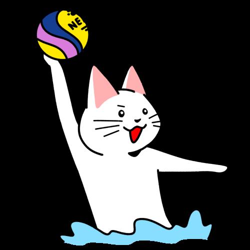 水球でボールを投げる猫のイラスト
