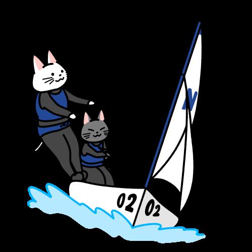 セーリングする猫のイラスト(ユニフォームあり)