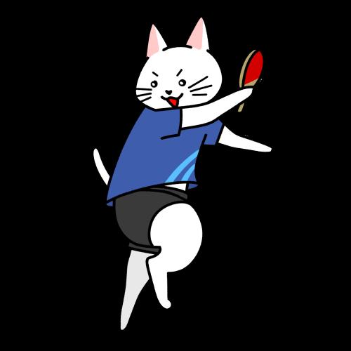 卓球で球を打つ猫のイラスト(ユニフォーム)