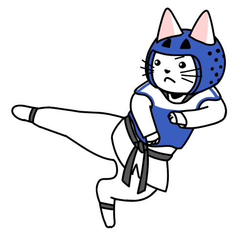 テコンドーでキックする猫のイラスト(ユニフォームあり)