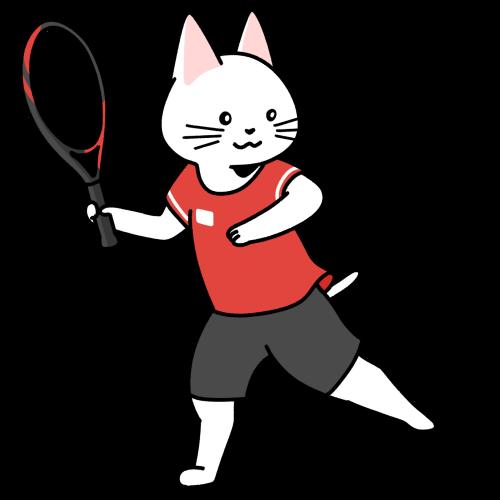 テニスをする猫のイラスト(ユニフォームあり)