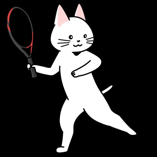 テニスをする猫のイラスト