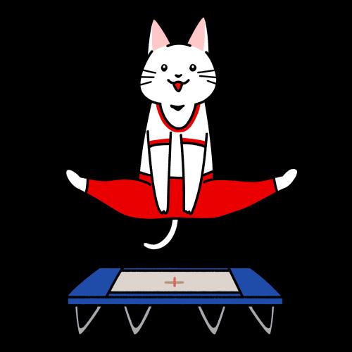 トランポリンの競技をする猫のイラスト(ユニフォーム)