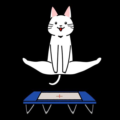 トランポリンの競技をする猫のイラスト