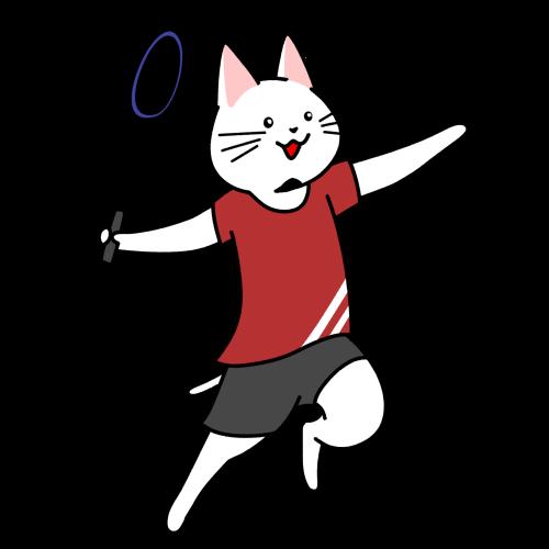 バドミントンをする猫のイラスト(ユニフォームあり)