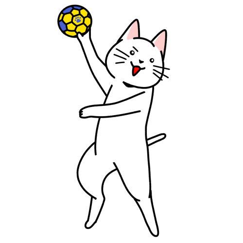 ハンドボールをする猫のイラスト