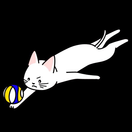ビーチバレーをする猫のイラスト