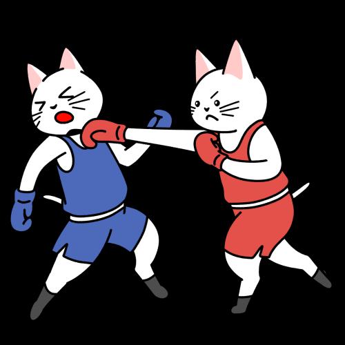 ボクシングの試合をする猫のイラスト(ユニフォームあり)