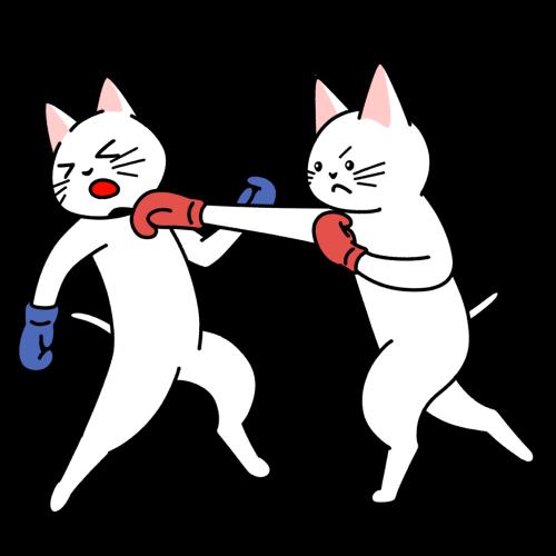 ボクシングの試合をする猫のイラスト