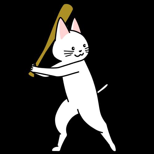 野球でバッターをする猫のイラスト