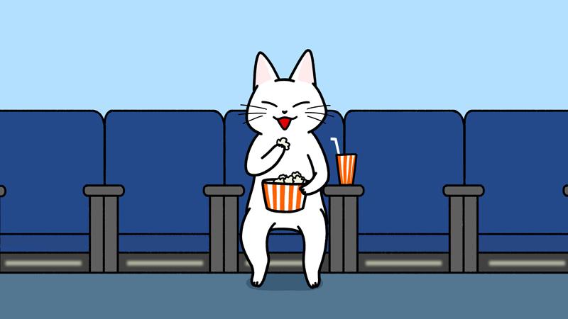 映画館でポップコーンを食べるイラスト