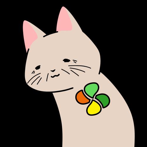 シルバーマークをつけた高齢者猫のイラスト