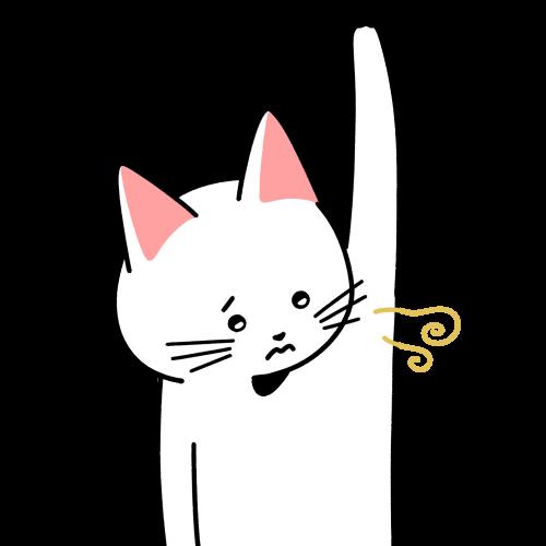 脇の匂い(ワキガ)が気になる猫のイラスト