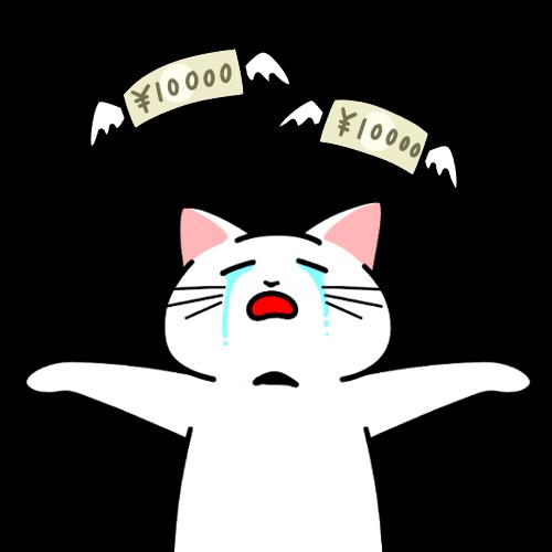 お金がなくなる猫のイラスト