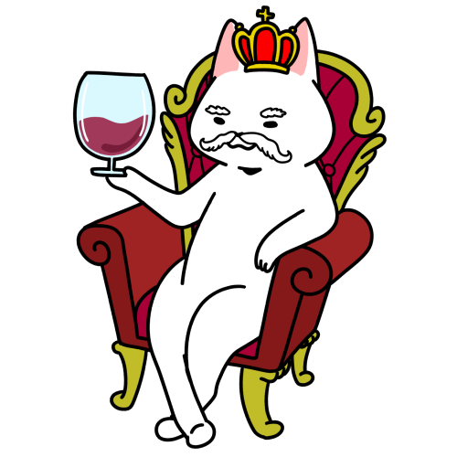 ワイングラスを持った王様猫のイラスト