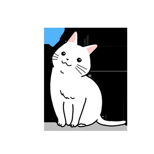 首を傾げる猫のイラスト(ハテナ付き)
