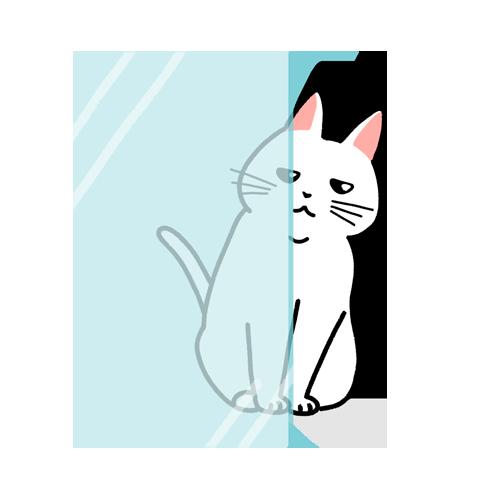 ガラス窓から顔半分を出して覗く猫のイラスト