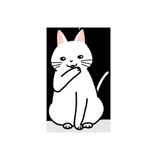 グルーミングで口元を洗う猫のイラスト