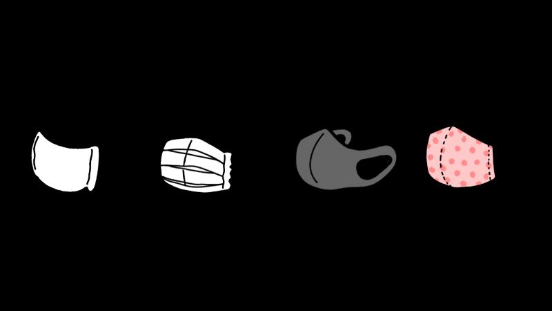 4種類のマスクのイラスト(給食当番/立体/プリーツ/ハンドメイド)