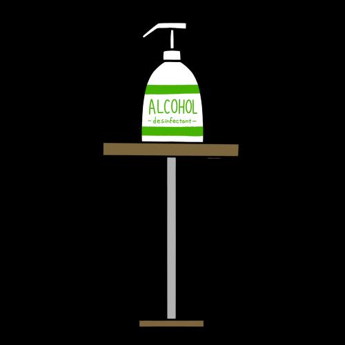 スタンドに乗った消毒液のイラスト(英語)