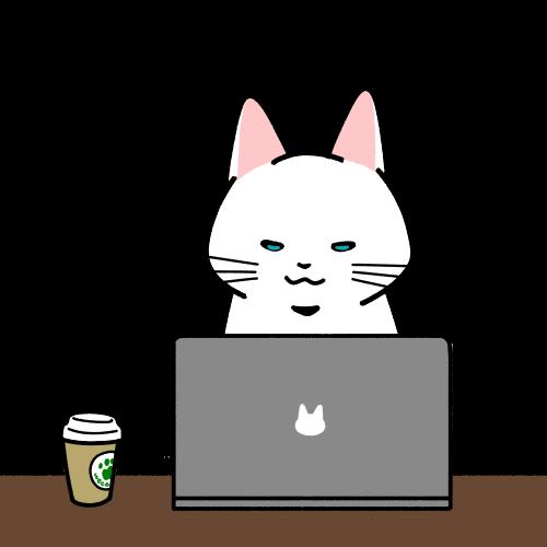 カフェでパソコン作業をするイラスト