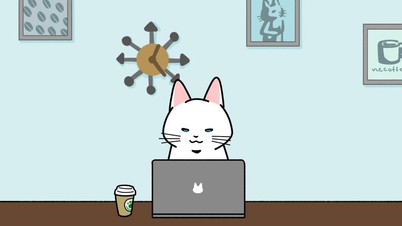 カフェでパソコン作業をするイラスト(見出しサイズ/背景付き)