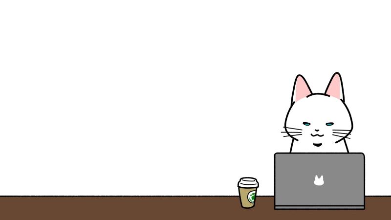 カフェでパソコン作業をするイラスト(見出しサイズ/文字入れ用)