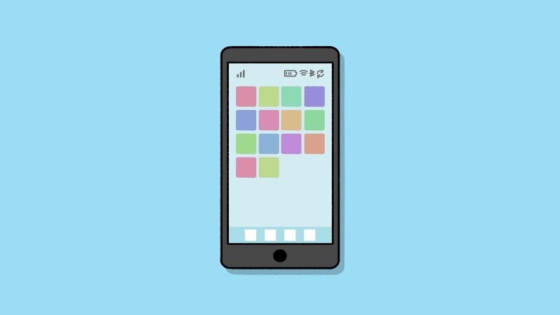 スマホ スマートフォン のイラスト ホーム画面 見出しサイズ 中央配置 ホーム画面 商用利用できる無料のフリーイラスト ふりねこ素材 商用利用できる無料のフリーイラスト ふりねこ素材