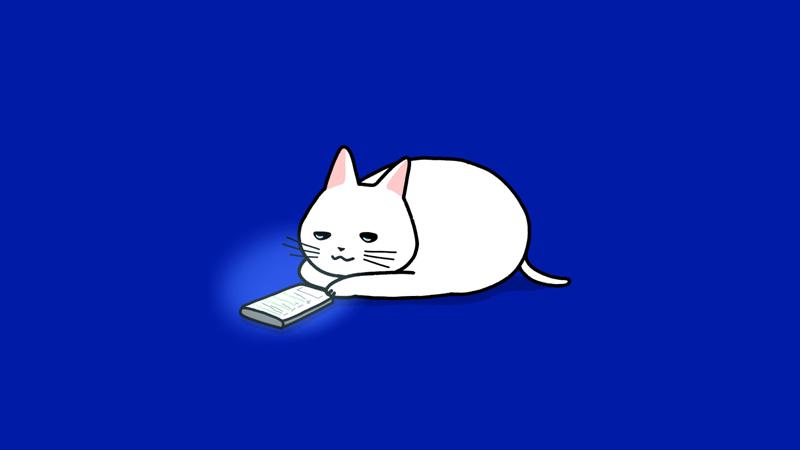 スマホを見てぼんやりする猫のイラスト(ブログ見出しサイズ)